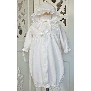 退院、セレモニーやちょっとおめかししたい場面にぴったりな、綿レースをふんだんに使った冬用のドレスです...