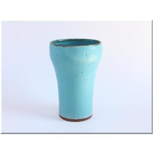 ビールグラス 陶器 誕生日 母の日 父の日 敬老の日 ターコイズブルーグラス プレゼント クリスマス ホワイトデー 還暦 お祝い|kiki-kiki