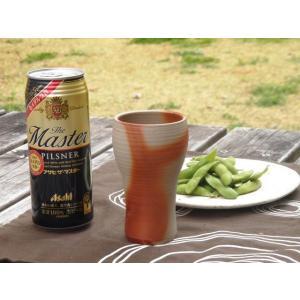 ビールグラス 陶器 誕生日 母の日 父の日 敬老の日 備前焼スリムビールグラス プレゼント ホワイトデー 還暦 お祝い|kiki-kiki|03