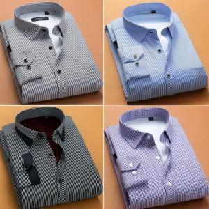 80a74cc60f5279 メンズ ストライプ柄 裏ボア ワイシャツ 長袖 暖かい 冬用 厚手 紳士用 ビジネス 縞柄 チェック柄 通勤 ボアシャツ 男性 冬 トップス