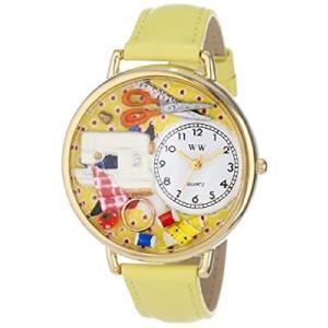 裁縫 黄色レザー ゴールドフレーム時計 #G0450001|kikilaland