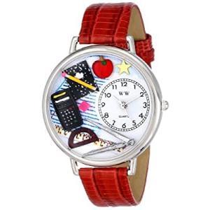 数学の先生 赤レザー ゴールドフレーム時計 #G0640007|kikilaland