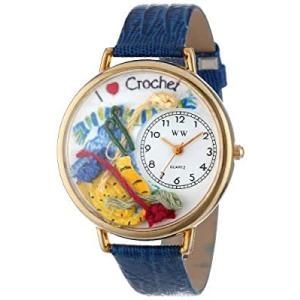 刺繍 紺レザー ゴールドフレーム 時計 #G0450011|kikilaland