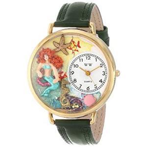 人魚 緑レザー ゴールドフレーム時計 #G1210014|kikilaland