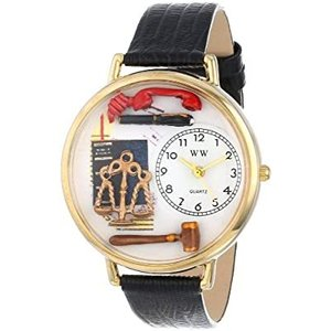 弁護士 黒レザー ゴールドフレーム時計 #G0610001|kikilaland