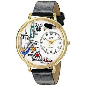 呼吸療法士 黒レザー ゴールドフレーム時計 #G0620028|kikilaland