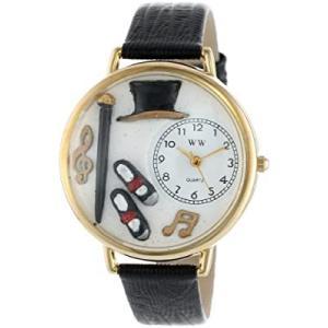 タップダンス 黒レザー ゴールドフレーム時計 #G0420007|kikilaland