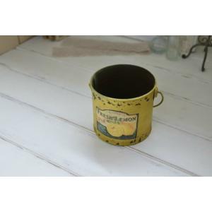 FRUIT TIN YE / フルーツティン・イエロー アンティーク風ブリキ缶鉢カバー|kikisuu