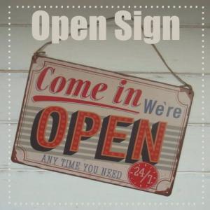 TIN PLATE OPEN /レトロな看板、アンティークデザインのオープンサイン・メール便可 kikisuu