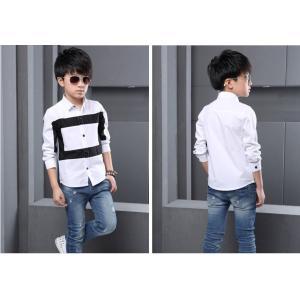 【送料無料】モノトーンシャツ(長袖) 110cm〜160cm綿100%【メール便対応】|kikkousisyoppu