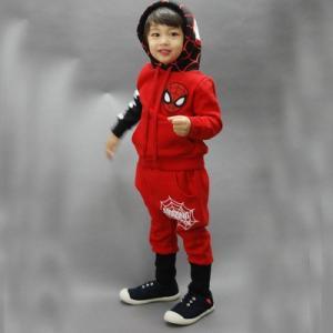 大人気★キッズ フード付きパーカー スーパイダーマン上下セット  アップスウェット かっこいい♪ プレゼントにも最適★|kikkousisyoppu
