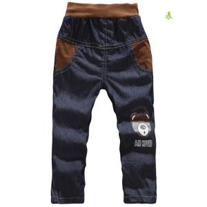 デニムズボン パンツ 春 夏 秋 柔らか 男の子  ウエストゴム 可愛い熊ちゃんプリント付き|kikkousisyoppu