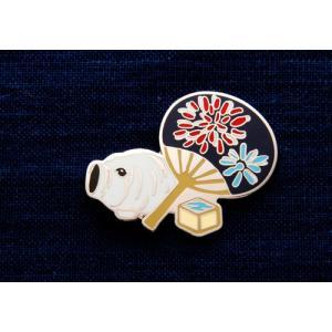 KEITA MARUYAMA プロデュース菊水オリジナルピンバッジうちわと蚊取ぶた kikusui-sake