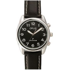 GRUS グルス ボイス電波腕時計 革バンドブラック×文字盤ブラック   GRS003-03 kilalinet