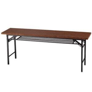 会議テーブル 会議用テーブル 折りたたみ 180×45cm ハイタイプ ブラウン|kilat