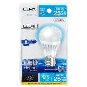 『売切れ御免』LED電球ミニクリプトン 25W E17 昼光色 LDA4D-H-E17-G406 ELPA 電球 LED 朝日電器 ミニクリプトン LED電球|kilat
