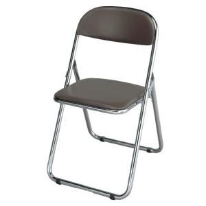 折りたたみパイプ椅子 (クロムメッキ仕様) 茶色 4脚セット 折りたたみチェア パイプイス 折りたたみパイプ椅子 折畳み kilat