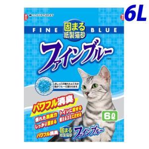 常陸化工 色がかわる固まる紙製猫砂 ファインブルー 6L kilat