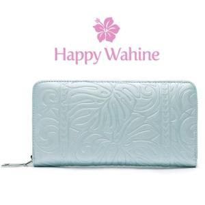 ハワイ 長財布 モンステラ ブルー 水色 Happy Wahine カイリー ラウンドファスナー kilaware