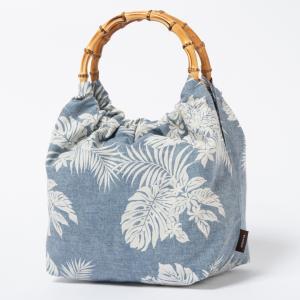 バンブーバッグ ハワイアン ブルー デニム風 モンステラとリーフ 浴衣 きんちゃく袋 kilaware
