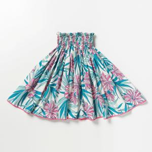 パウスカート 東北 ハイビスカス ティール ピンク 裾パイピング