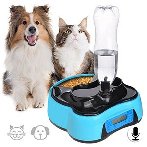 Iseebiz 自動給餌器 猫 犬 自動餌やり機 自動給餌機 オートフィーダー 自動給水 録音 定時1.6L 子犬 老犬 kimakai