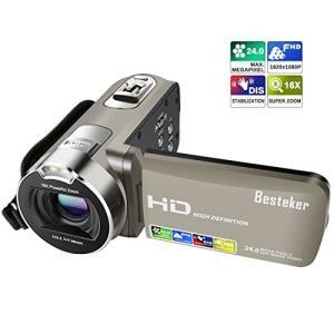 ビデオカメラ Besteker ポータブルビデオカメラ 2400万画素 HD1080P 16倍デジタ...