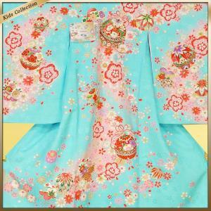 女の子 女児用 産着 祝着 初着 お宮参り のしめ 熨斗目 帽子セットプレゼント中 ブルー系|kimono-cafe