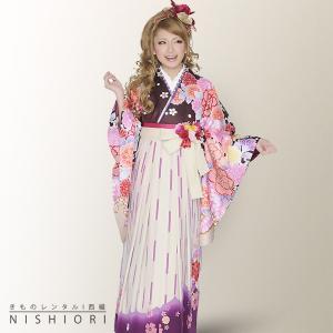 2尺袖 着物 袴 フルセット レンタル an an/アンアン ブラウン・白・友禅 小学生 対応 kimono-cafe