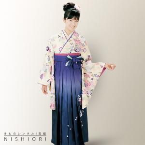 2尺袖 着物 袴 フルセット レンタル HL/アッシュエル Mサイズ クリーム 紫 小学生 対応 kimono-cafe
