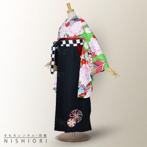 二尺袖 着物 と袴 フルセット レンタル 往復送料無料 紅一点 緑 古典 黒 市松 M サイズ kimono-cafe
