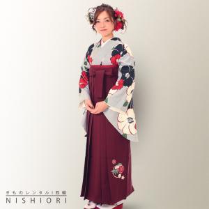 二尺袖 着物 袴 レンタル フルセット 往復送料無料 卒業式 入学式 Mサイズ 小学生 対応可 灰色 椿 ワイン kimono-cafe