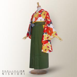 二尺袖 着物 袴 レンタル フルセット 卒業式 白 椿 オレンジ 赤 緑 無地 卒業式 kimono-cafe