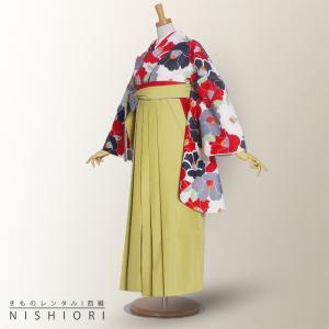 二尺袖 着物 袴 レンタル フルセット 卒業式 白 黒 椿 黄緑 無地 卒業式 kimono-cafe