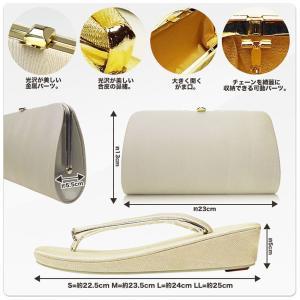 高級佐賀錦草履 バッグ セット クラッチバッグタイプ 選べる2サイズ 2カラー 金 銀 ゴールド シルバー Mサイズ Lサイズ|kimono-cafe|02