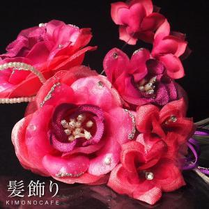 髪飾り  コサージュ・ヘアアクセ 赤 ピンク 系 花 三歳 七歳