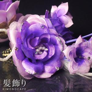 髪飾り  コサージュ・ヘアアクセ 紫 パープル 系 花 三歳 七歳