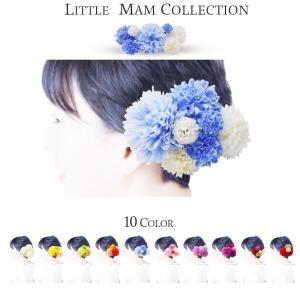 ピンポンマム コレクション 少し小さめ 7点セット 選べる10色 髪飾り コサージュ レディース kimono-cafe
