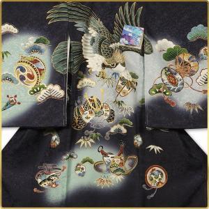 男の子 男児用 産着 祝着 初着 のしめ 熨斗目 お宮参り 帽子セットプレゼント中 紺 鷹 兜 鼓|kimono-cafe