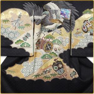 男の子 男児用 産着 祝着 初着 のしめ 熨斗目 お宮参り 帽子セットプレゼント中 黒 鷹|kimono-cafe