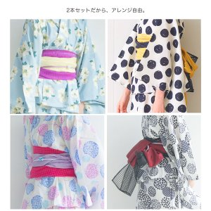 2019年 夏 新作 子供 2way 浴衣 サンドレス 4点セット しわふわ兵児帯2本セット 色柄豊富 7柄 6サイズ モダン&キュート セパレート キャミ ワンピース|kimono-cafe|03