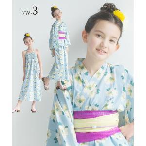 2019年 夏 新作 子供 2way 浴衣 サンドレス 4点セット しわふわ兵児帯2本セット 色柄豊富 7柄 6サイズ モダン&キュート セパレート キャミ ワンピース|kimono-cafe|09