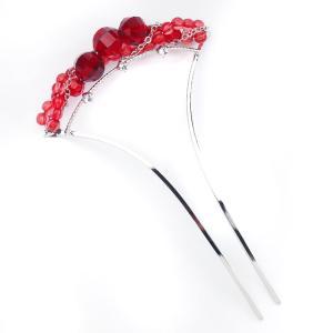 高級 かんざし 簪花しおり バチ型 髪飾り 着物 赤 クリアー 化粧箱プレゼント 78101|kimono-cafe