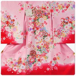 女の子 女児用 産着 祝着 初着 お宮参り のしめ 熨斗目 帽子セットプレゼント中 地模様 ピンク ワイン|kimono-cafe