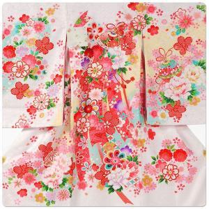 女の子 女児用 産着 祝着 初着 お宮参り のしめ 熨斗目 帽子セットプレゼント中 地模様 白 ホワイト|kimono-cafe