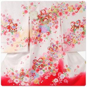 女の子 女児用 産着 祝着 初着 お宮参り のしめ 熨斗目 帽子セットプレゼント中 地模様 白 ホワイト ワイン 赤|kimono-cafe