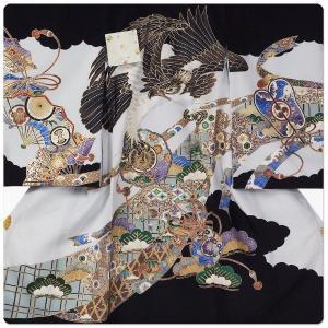 男の子 男児用 産着 祝着 初着 のしめ 熨斗目 お宮参り 帽子セットプレゼント中 刺繍 金彩 鷹 タカ 黒 白 系|kimono-cafe