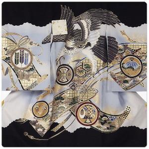 男の子 男児用 産着 祝着 初着 のしめ 熨斗目 お宮参り 帽子セットプレゼント中 刺繍 金彩 カブト 兜 黒 白 系|kimono-cafe