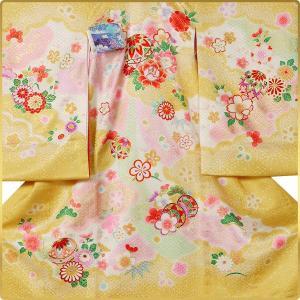 女の子 女児用 産着 祝着 初着 お宮参り のしめ 熨斗目 帽子セットプレゼント中 黄色系|kimono-cafe