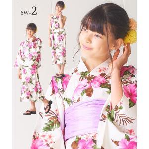 2019年 夏 新作 ハワイアン デザイン 2way 浴衣 ハイジュニア サンドレス 3点セット 2柄 2サイズ モダン&キュート kimono-cafe 08